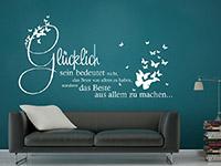 dekorativer Wandtattoo Spruch Glücklich mit Schmetterlingen