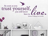 Wandtattoo Trust Yourself Zitat in Farbe über einem Regal