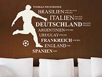 Wandtattoo Fußball Weltmeister auf dunkler Wandfläche