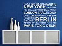 Welt Wandtattoo Metropolen im Wohnzimmer