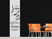 Wandtattoo Banner Kaffeesorten in der Küche