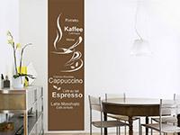 Kaffee Wandtattoo Banner Kaffeesorten im Esszimmer