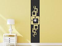 Banner Wandtattoo Uhr Retro Cubes auf heller Wandfläche im Flur
