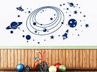 Weltraum Wandtattoo Im Weltall in blau