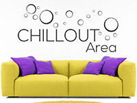 Lounge Wandtattoo Chillout Area auf heller Wand