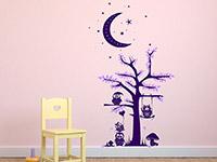 zweifarbiger Wandtattoo Baum mit Eulen und Mond