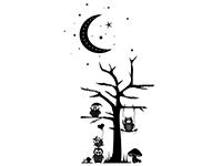 Wandtattoo Eulen im Mondlicht Motivansicht