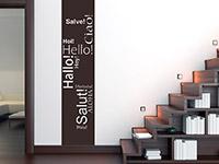 dekorativer Hallo Wandbanner in 10 verschiedenen Sprachen