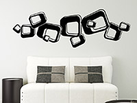 Wandtattoo 3D Retroornament im Wohnzimmer in schwarz