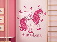 Fliegendes Pony Wandtattoo mit Wunschname in pink
