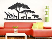 Wandtattoo Savanne mit Bäumen...  im Wohnzimmer