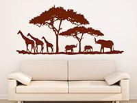 Afrika Wandtattoo Savanne mit Bäumen... in rot