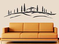 Toskana Landschaft Wandtattoo Haus in der Toskana auf heller Wandfläche