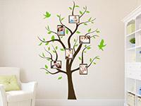 Foto Wandtattoo Baum mit Bilderrahmen mit grünen Blättern