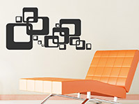 Ornament Wandtattoo Retro Cube auf heller Wand