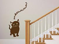 Süße Katze Wandtattoo in braun im Flur