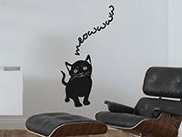 Niedliches Wandtattoo Süße Katze im Wohnzimmer