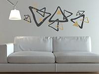 Retro Wandtattoo Ornament Dreiecke im Wohnzimmer