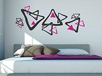 Retro Wandtattoo Ornament Dreiecke in schwarz und pink