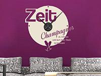 Stylische Wandtattoo Uhr Champagner in beige
