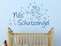 Schutzengel Wandtattoo mit Wunschname in enzian im Kinderzimmer