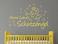 Wunschname Wandtattoo Schutzengel Bär mit Luftballons in gelb