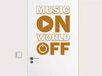 Musik Wandtattoo Music on auf der Tür