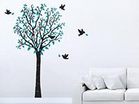 Wandtattoo Frühlingsbaum  im Wohnzimmer