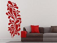 Retro Tropfen Wandtattoo Ornament in rot im Wohnzimmer