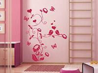 Wandtattoo Süße Ranke mit Vögeln in pink