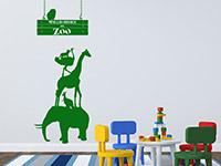Tier Wandtattoo Willkommen im Zoo in grasgrün