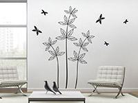 Wandtattoo Blätterpflanze mit Schmetterlingen