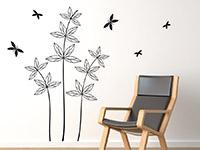 Wandtattoo Blätterpflanze mit Schmetterlingen im Wohnzimmer