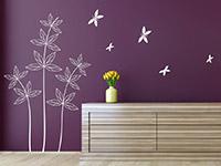 Blätterpflanze mit Schmetterlingen Wandtattoo in weiß