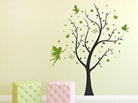 Zweifarbiges Wandtattoo Traumhafter Baum mit Sternen und Fee als Kinderzimmer Dekoration