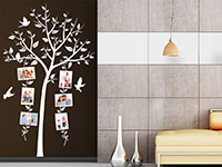 Foto Wandtattoo Dekorativer Fotorahmen Baum in weiß