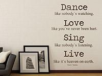 englisches Wandtattoo Zitat Dance