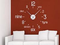 Wandtattoo Uhr International im Wohnzimmer