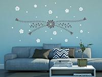 Wandtattoo Blütenornament im Wohnzimmer in grau und weiß