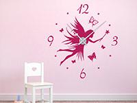 Wandtattoo Uhr Fee in Farbe als originelle Deko für Kinder