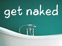 Englisches Wandtattoo Get naked in weiß