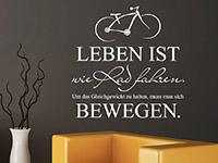 Wandtattoo Leben ist wie Rad fahren im Wohnzimmer