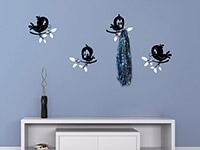 Lustige Vögel Wandtattoo Garderobe im Flur