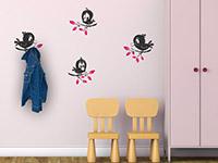 Garderoben Wandtattoo Lustige Vögel im Kinderzimmer