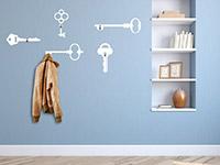 Schlüssel Wandtattoo Garderobe in weiß