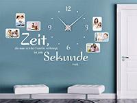 Wandtattoo Uhr Familienzeit mit Fotorahmen im Flur