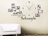 Fotorahmen Wandtattoo Uhr Familienzeit auf hellem Hintergrund