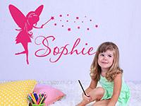 Wandtattoo Märchenfee mit Wunschname im Kinderzimmer in pink
