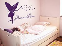 Wunschnamen Wandtattoo Märchenfee mit Sternen in violett
