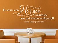 Zitat Goethe Wandtattoo Von Herzen in weiß